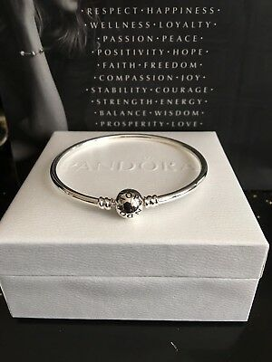 New Genuine 17cm Pandora Moments Sterling Silver Charm Bangle #590713 RRP55