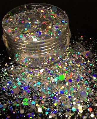 10ml Holographic Silver Super Chunky Glitter Nail Face Eye Body Festival make up