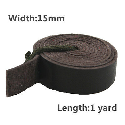 MS Leather Hides & Fur Pelts Coffee Genuine Leather Strap,1 Yard, 20mm/15mm/10mm