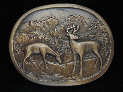 PA05133 *NOS* VINTAGE 1970s **TWO DEER IN MOUNTAIN FOREST** ART BRASSTONE BUCKLE