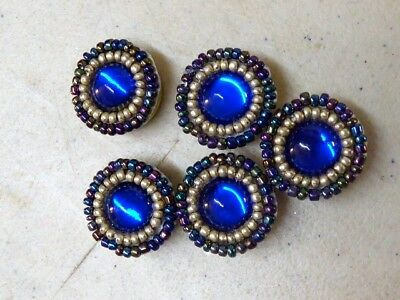 Native American Beaded Lot Of 5 Covered Beaded Button Covers