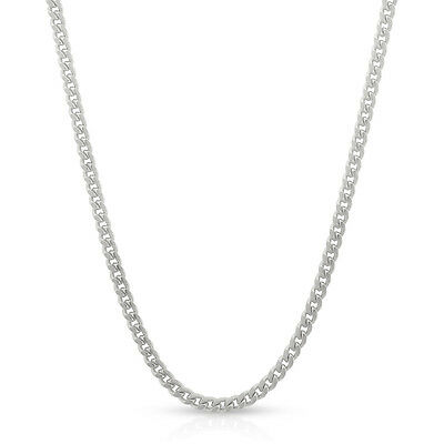 Sterling Silver Italian 2mm Miami Cuban Curb Solid 925 Rhodium Chain Necklace