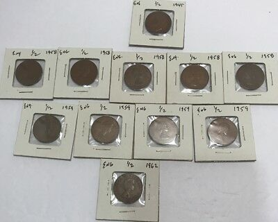 English 1/2 Penny Lot Of 11