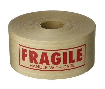 """Kraft Paper Tape Gummed Printed Red Fragile Handle With Care 2.75"""" x 450' 1 Roll"""