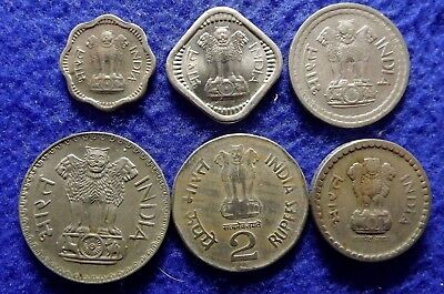 INDIA 1, 2, 5 Rupees + 2, 5, 50 Paise 1957 to 2000 - 6 Mixed Coins (#1441)