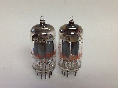 Matched Pair Of Sylvania 12AU7A ECC82 Long Plate USA Made Tubes - Tested