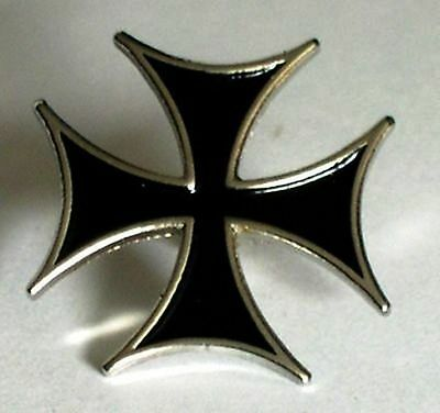 MALTESE IRON CROSS  BLK and Silver  round ENAMEL  PIN BADGE BUY 2 GET 3 of these