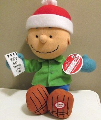 "Hallmark Peanuts Charlie Brown Christmas Plush w/Sound 9"" 'Perfect Gift' New"