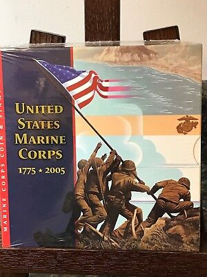 U.S.Mint~ 1775 - 2005 US Marine Corps Silver Dollar Coin & Stamp Set