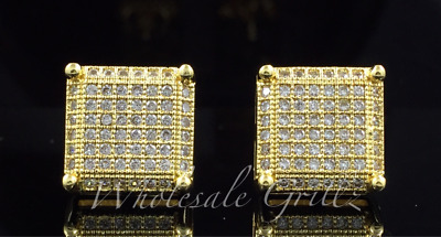 NEW! 14k Gold GP CUSTOM Simulate Diamond Prong tip LARGE IcedOut HIPHOP Earrings