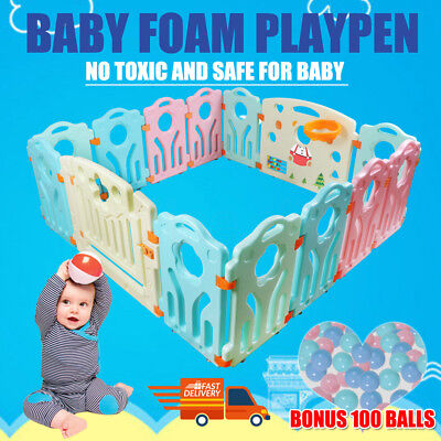 14pc Baby Playpen Kids Toddler Plastic Panel Interactive Gate Lock+100 Play Ball