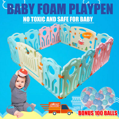 New 14pc Baby Playpen Kids Toddler Plastic Panel Interactive Gate Lock Divider