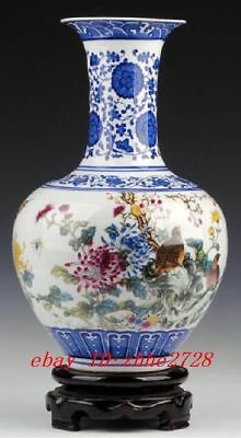 Color porcelain vase painted spring landscape with birds flowers Chinese letters