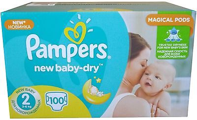 100 Pampers Windeln New Baby-Dry Gr. 2, 3-6 Kg, MINI mit Urin-Indikator