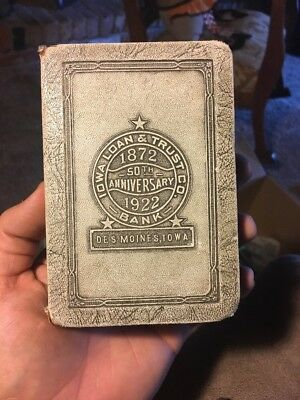 VINTAGE 1922 BANKERS UTILITIES BOOK BANK Des Moines Iowa Loan And Trust
