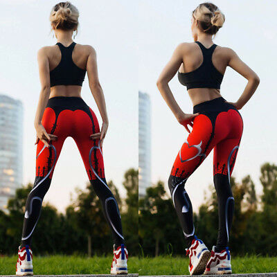 Women's Yoga Fitness Leggings Run Gym Stretch Sports High Waist Pants Trousers J
