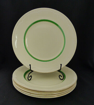 Vintage Clarice Cliff Dinner Plates in Cream and Green Set of 5