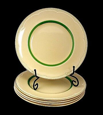 Vintage Clarice Cliff Entrée Salad Plates in Cream and Green Set of 5