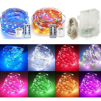 20/30/100 LED Battery Micro Rice Wire Copper Fairy String Lights Xmas White RGB