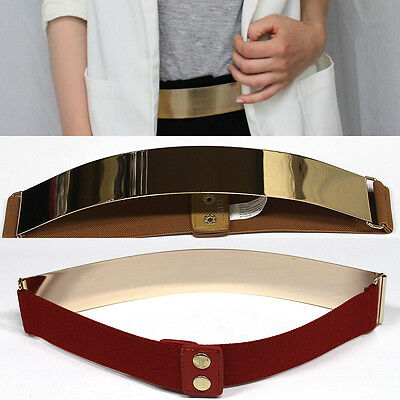Waist Band Elastic Metallic Bling Mirror Metal Gold Plate Wide Belt Leather Obi