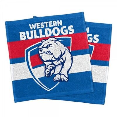 Western Bulldogs Official AFL Face Washer Towels Pack 2 FREE POST