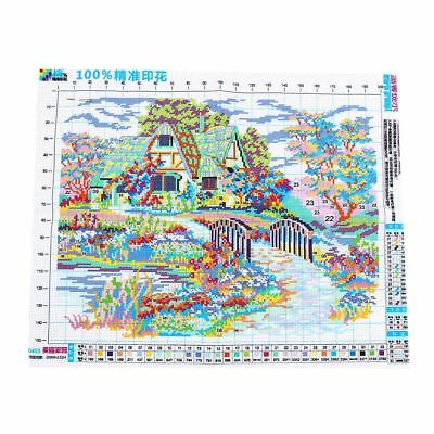 Needlework,DIY DMC Cross stitch,Sets For Embroidery kits,scenery clock home D5H4