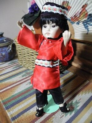 VTG Hong Kong Chinese Porcelain Doll, Asian Glass Eyes, Shoes Hat Jointed 11.5""
