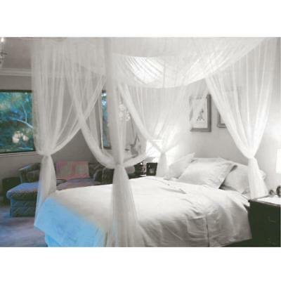 4 Corner Post Bed Canopy Mosquito Net Queen King Size Netting Bedding White OGOG