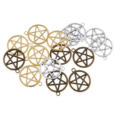 15pcs Charm Pendant Pentagram in Circle for Necklace Jewelry Making Finding