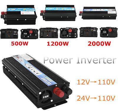 2000W Watt Max Portable Car Power Inverter DC 12V to AC 110V Charger Converter