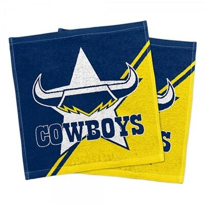 Nth Queensland Cowboys Official NRL Face Washers Pack 2 FREE POST