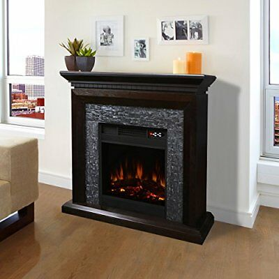 Large Room Grand 3D Flame Electric Fireplace with Mantel Cabine...