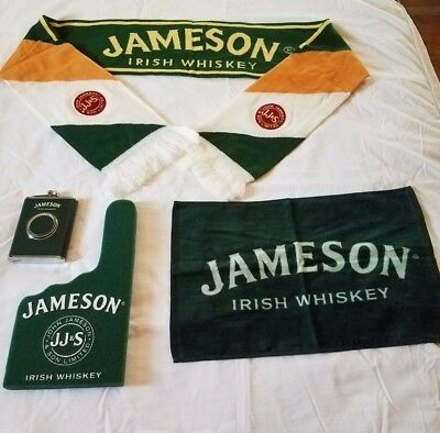 Jameson Irish Whiskey lot NEW! in packaging, flask with shot glass, scarf, towel