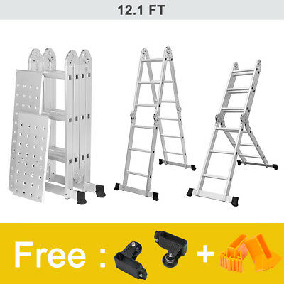 5M Multi-Purpose Folding Telescopic Ladder Aluminium A-Frame Shape Extendable UK