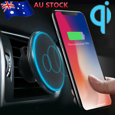 LED Qi Wireless Car Charger Magnetic Air Vent Charging Pad Holder For iPhone X 8