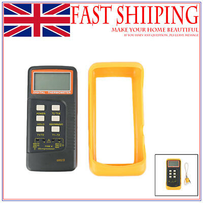 Dual channel K Type Digital Thermocouple Thermometer 6802 II, 2 Pipe Clamp UK