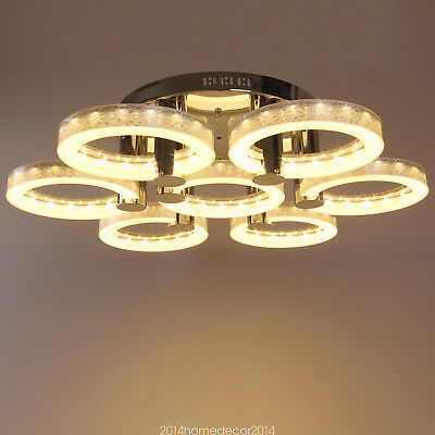 Modern Simple Fashion Stainless Steel Acrylic Flush Mount Ceiling Light 7 Lights