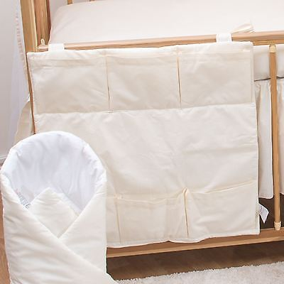 Nursery Baby Cot Tidy / Organiser for Cot/ Cotbed/ Cot Bed - Plain Cream
