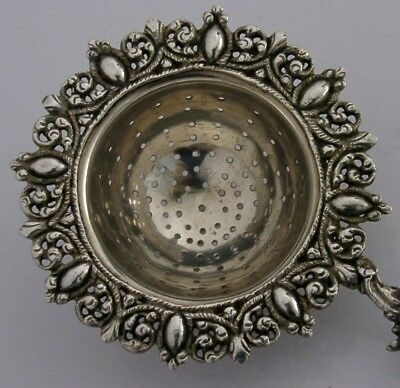 BEAUTIFUL SOLID CAST STERLING SILVER TEA STRAINER ANTIQUE c1900