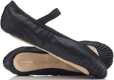 Boys/ Mens proVora BLACK Leather Ballet Shoes. Full Sole All adult Sizes 2 - 10