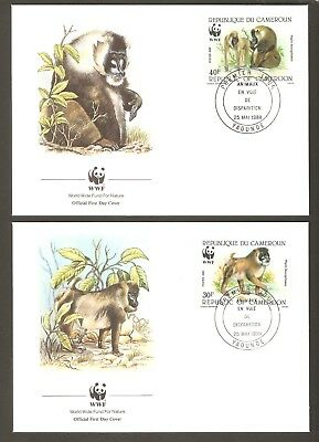 1988    CAMEROON  -  4 x WWF FIRST DAY COVERS  -  DRILL BABOON