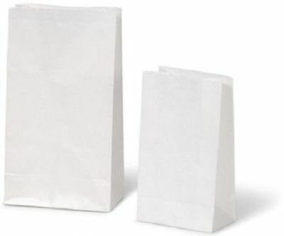 White Bleached Kraft Paper Block Bottom Bags For Gifts Restaurant Food QTY:1000