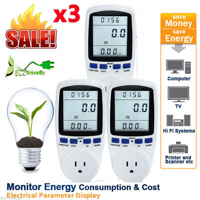 3xLCD Power Meter Energy Consumption Electricity Watt KWH Usage Monitor Socket