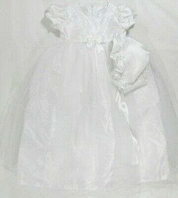Baby Babies Girls Christening Gown Dress Bonnet Hat Cream Ivory Long Embroidery