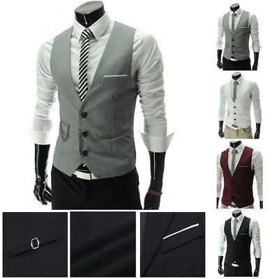 Hot Men's Formal Business Suit Vest Slim Wedding Casual Waistcoat Jacket Coat