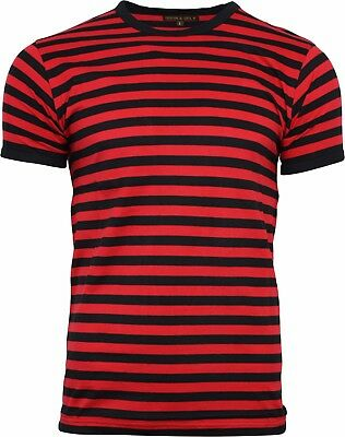 Run & Fly Black and Red Striped Short Sleeve T-Shirt 60s Retro Indie