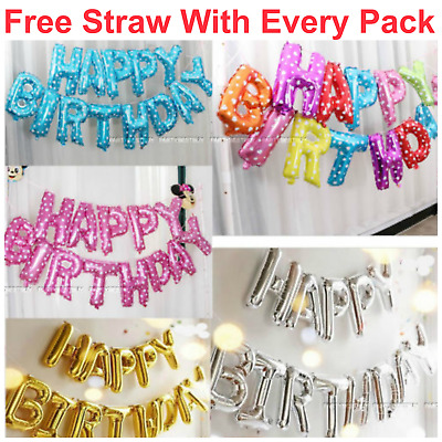 "16"" Large Size Self Inflating Happy Birthday Banner Balloon Bunting Multi Colour"