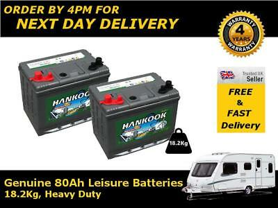 2x Hankook 80Ah Deep Cycle Marine Battery DC24 - Quick Delivery