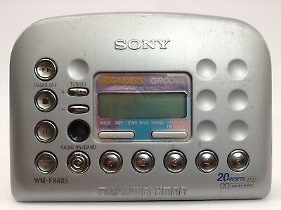 Sony FM/AM Cassette Groove Mega Bass Walkman Model WM-FX 485, Bundle