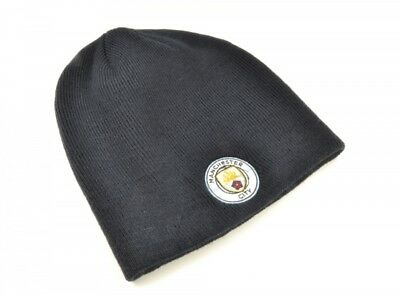 Manchester City FC Navy Blue Beanie Hat Football NEW Club Badge Crest Official